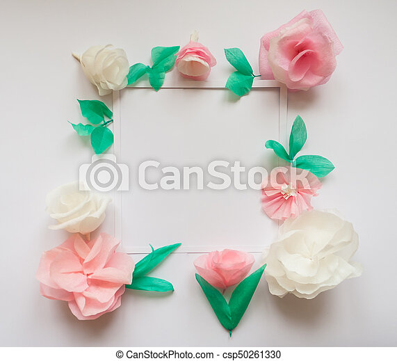 Square frame with color paper flowers flat lay nature stock square frame with color paper flowers flat lay nature concept csp50261330 mightylinksfo