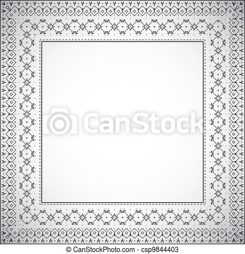 Square frame with ethnic pattern - Vector - csp9844403
