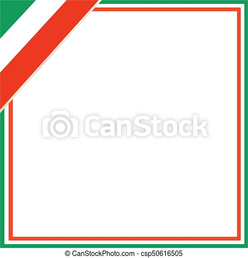 Square frame with italian flag in the corner. Square frame with ...