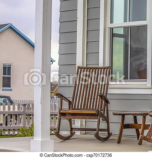 Amazing Square Front Porch Of A House With Brown Rocking Chairs And Rectangular White Pillars Spiritservingveterans Wood Chair Design Ideas Spiritservingveteransorg