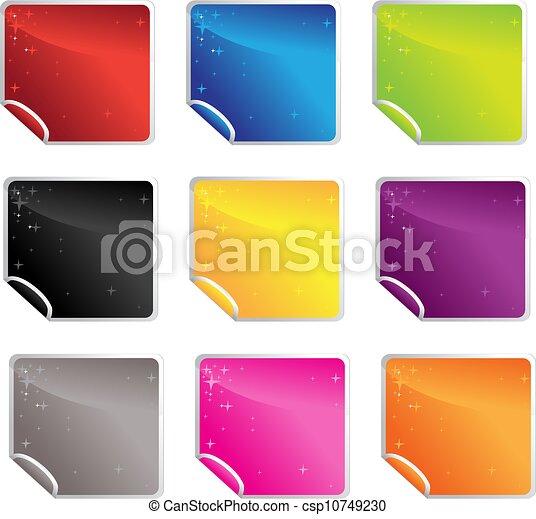 square glossy shiny stickers - csp10749230
