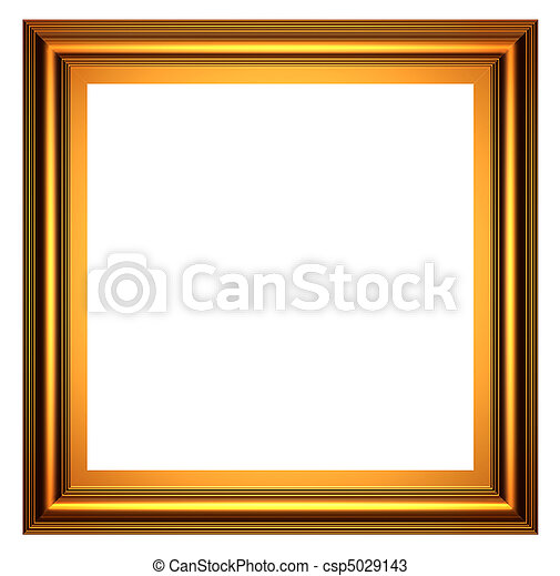 3d series: square gold frame on white background.