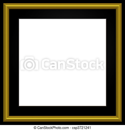 Square golden photo frame. Gold and black square photo frame and ...