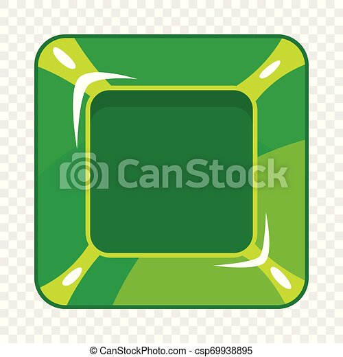 Square green button icon, cartoon style - csp69938895