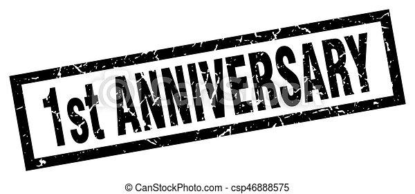 square grunge black 1st anniversary stamp - csp46888575