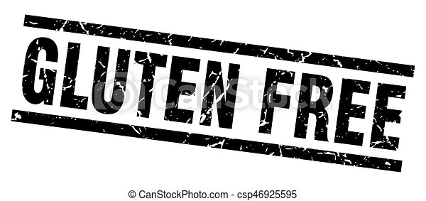 square grunge black gluten free stamp - csp46925595