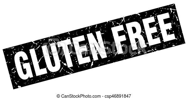 square grunge black gluten free stamp - csp46891847