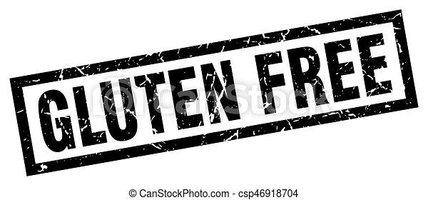 square grunge black gluten free stamp - csp46918704