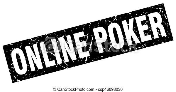 square grunge black online poker stamp - csp46893030