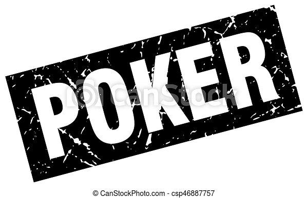 square grunge black poker stamp - csp46887757