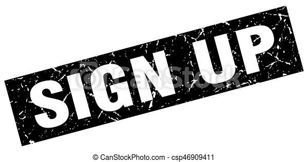square grunge black sign up stamp - csp46909411