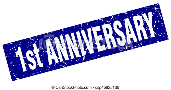 square grunge blue 1st anniversary stamp - csp46925188
