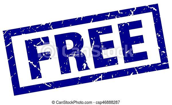 square grunge blue free stamp - csp46888287