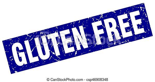 square grunge blue gluten free stamp - csp46908348