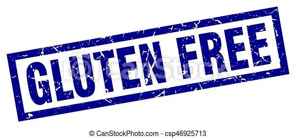 square grunge blue gluten free stamp - csp46925713