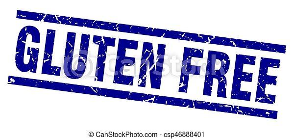 square grunge blue gluten free stamp - csp46888401