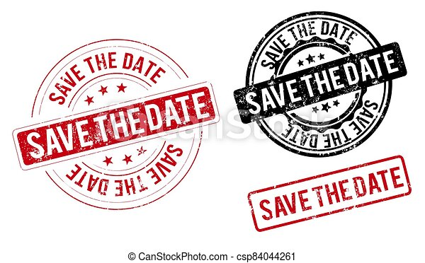 square grunge blue save the date stamp - csp84044261