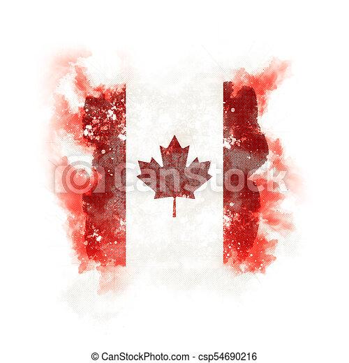 Square grunge flag of canada - csp54690216