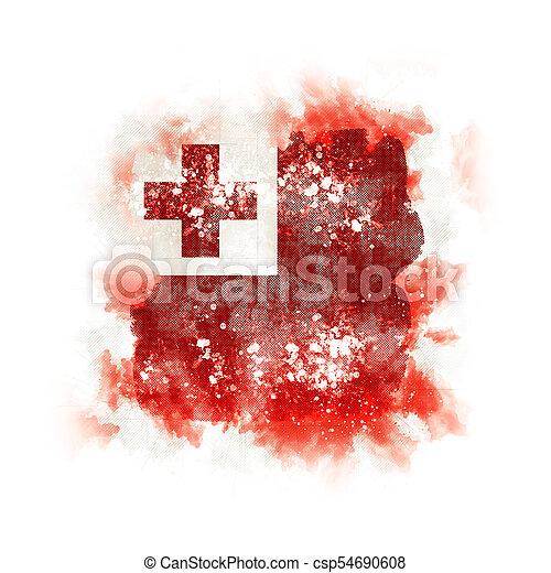 Square grunge flag of tonga - csp54690608