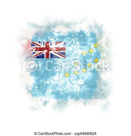 Square grunge flag of tuvalu - csp54690624