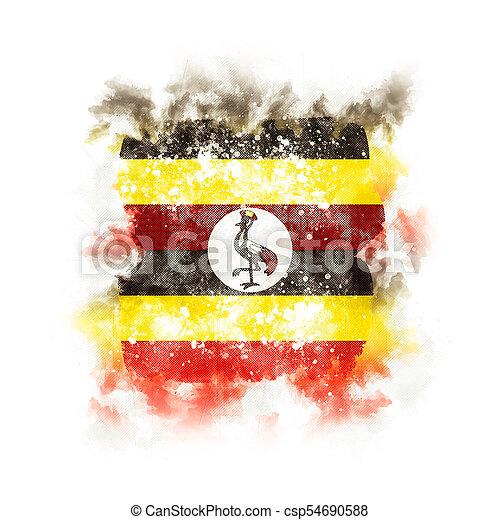 Square grunge flag of uganda - csp54690588