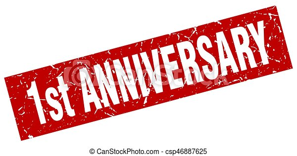 square grunge red 1st anniversary stamp - csp46887625