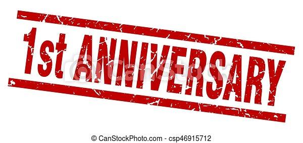 square grunge red 1st anniversary stamp - csp46915712