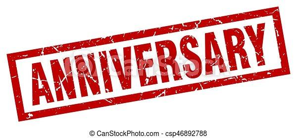 square grunge red anniversary stamp - csp46892788
