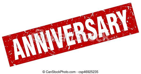 square grunge red anniversary stamp - csp46925235