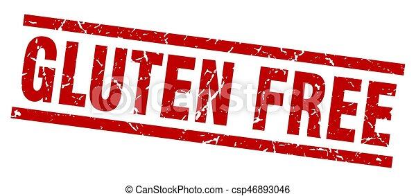 square grunge red gluten free stamp - csp46893046