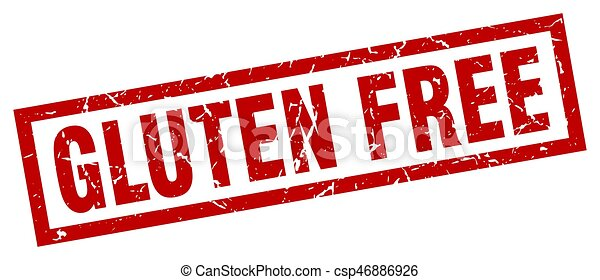 square grunge red gluten free stamp - csp46886926