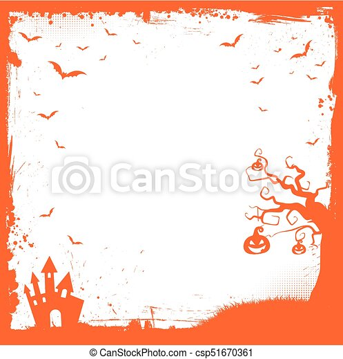 square halloween banner template with pumpkin scary house flying