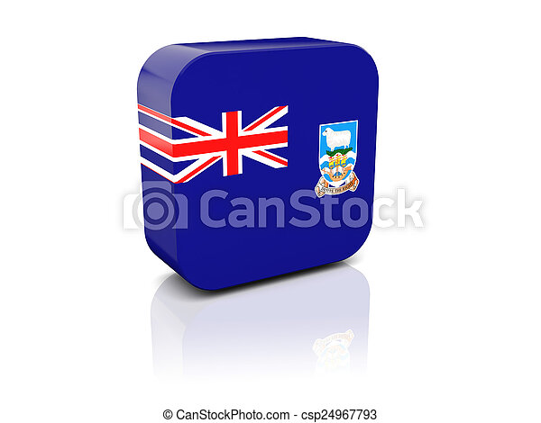 Square icon with flag of falkland islands - csp24967793