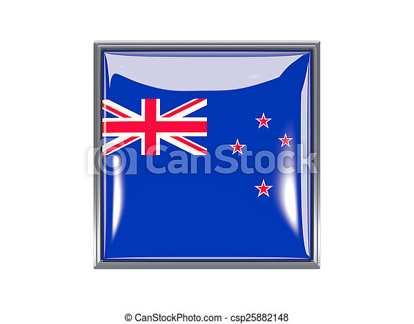 Square icon with flag of new zealand - csp25882148