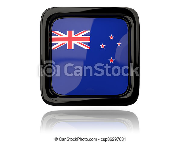 Square icon with flag of new zealand - csp36297631