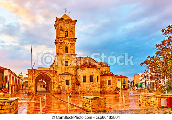 Square In Larnaca And Church Of Saint Lazarus Cyprus