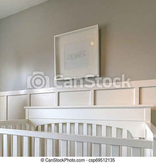 Square Interior of a room for children with white wooden crib and play teepee - csp69512135
