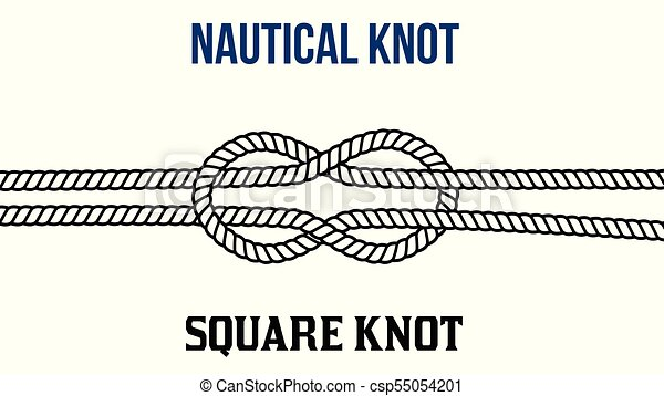Square knot on white background.