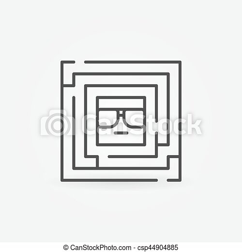 Square labyrinth with face inside - csp44904885