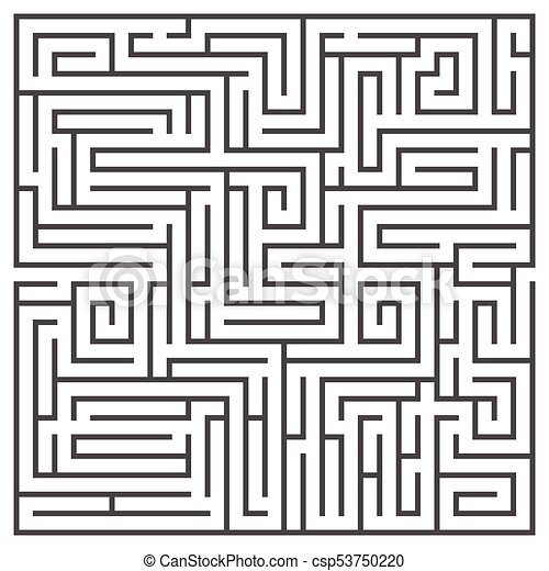 Square maze isolated on white background  Medium complexity