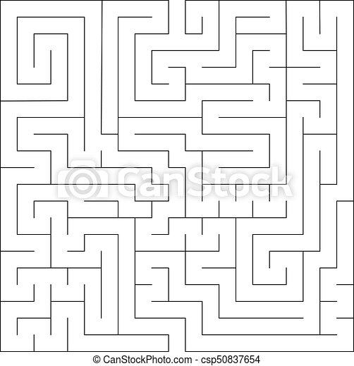 Square maze labyrinth  Black thin outline  Vector illustration