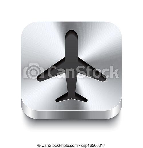 Square-metal-button-perspektive-airplane - csp16560817