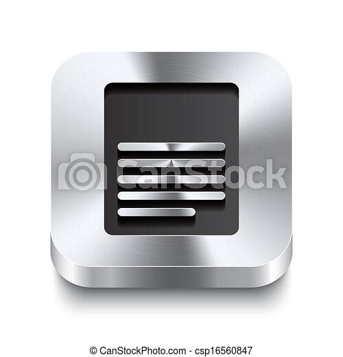 Square metal button perspektive - page icon - csp16560847