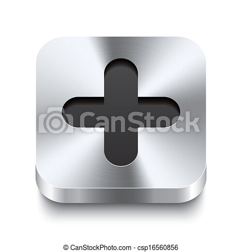 Square metal button perspektive - plus icon - csp16560856
