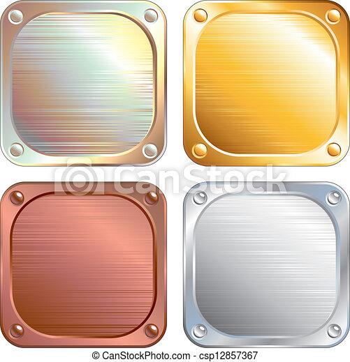 Square Metallic Plates, Signs. Vector Illustration - csp12857367