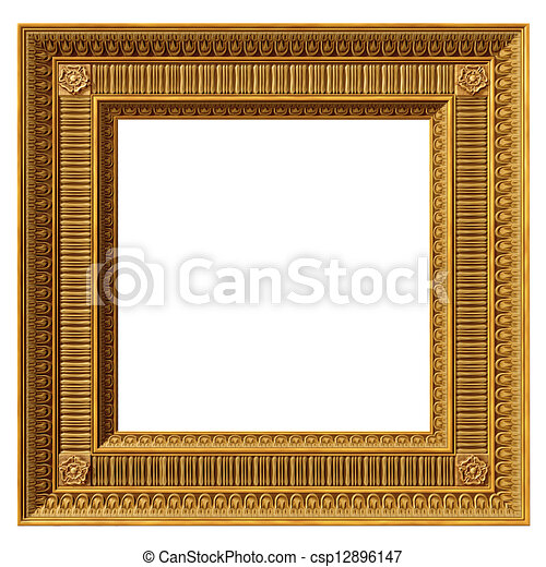 Rectangular antique picture frame. Isolated illustration of a ...