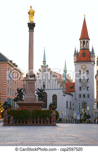 square of medieval city with monument. Munich. Germany - csp2597520