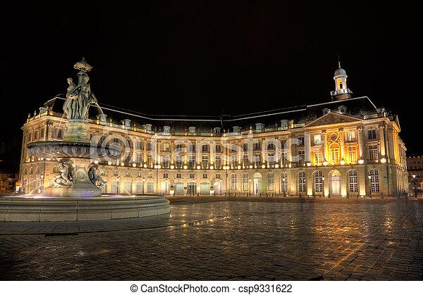 Square of the Bourse, Bordeaux, Aquitaine, France - csp9331622
