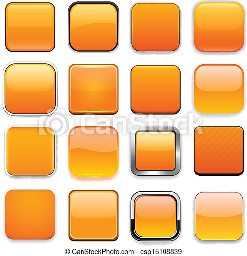 Square orange app icons. - csp15108839