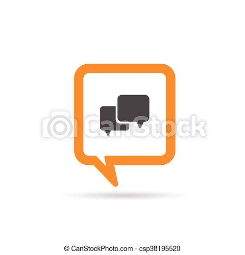 square orange speech bubble icon illustration - csp38195520